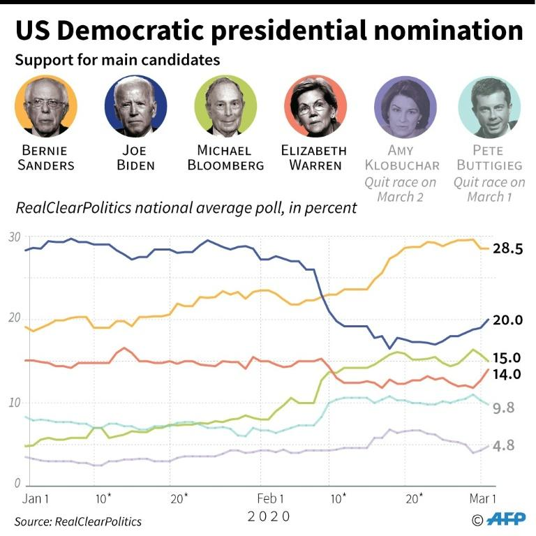 Support for the main candidates in the US Democratic presidential nomination race