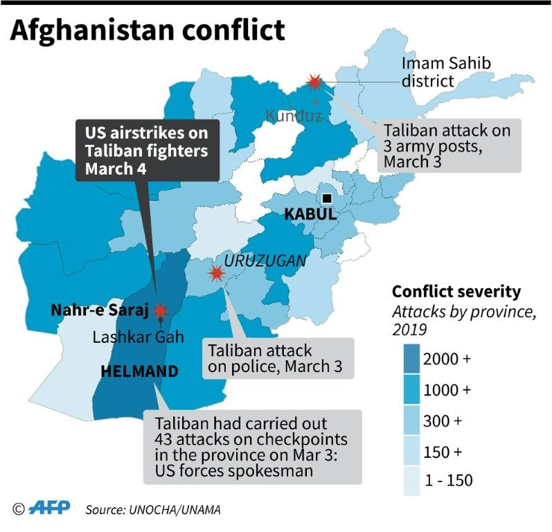 Map showing Taliban attacks on Tuesday and a US air strike