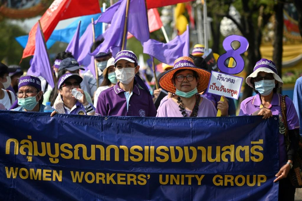 Around 350 women marched in Bangkok calling for greater labour protections amid the coronavirus outbreak