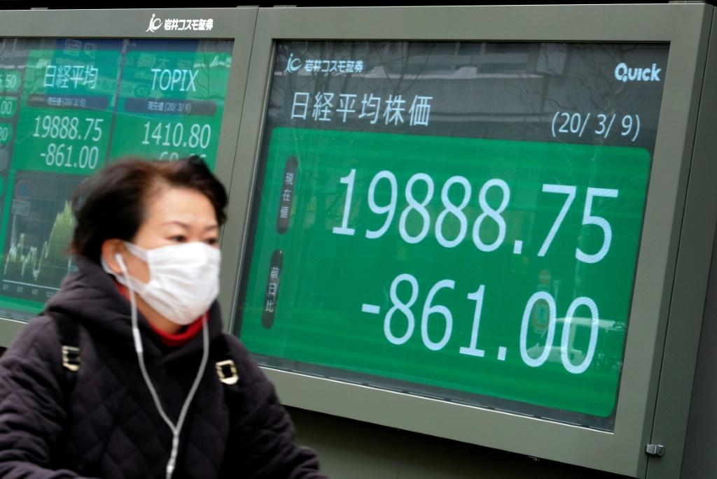 Equities in Tokyo have plunged almost six percent as Asian markets are hammered by virus fears and a crash in oil prices