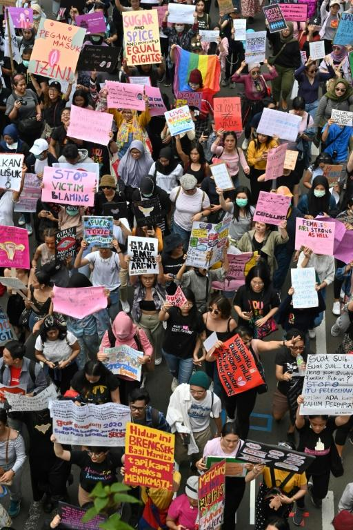 In Indonesia, roughly 800 people in the capital Jakarta rallied to demand the government revoke gender-discriminative laws