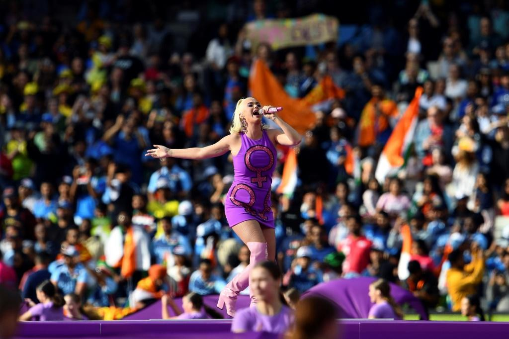 US singer Katy Perry performed ahead of the women's T20 match