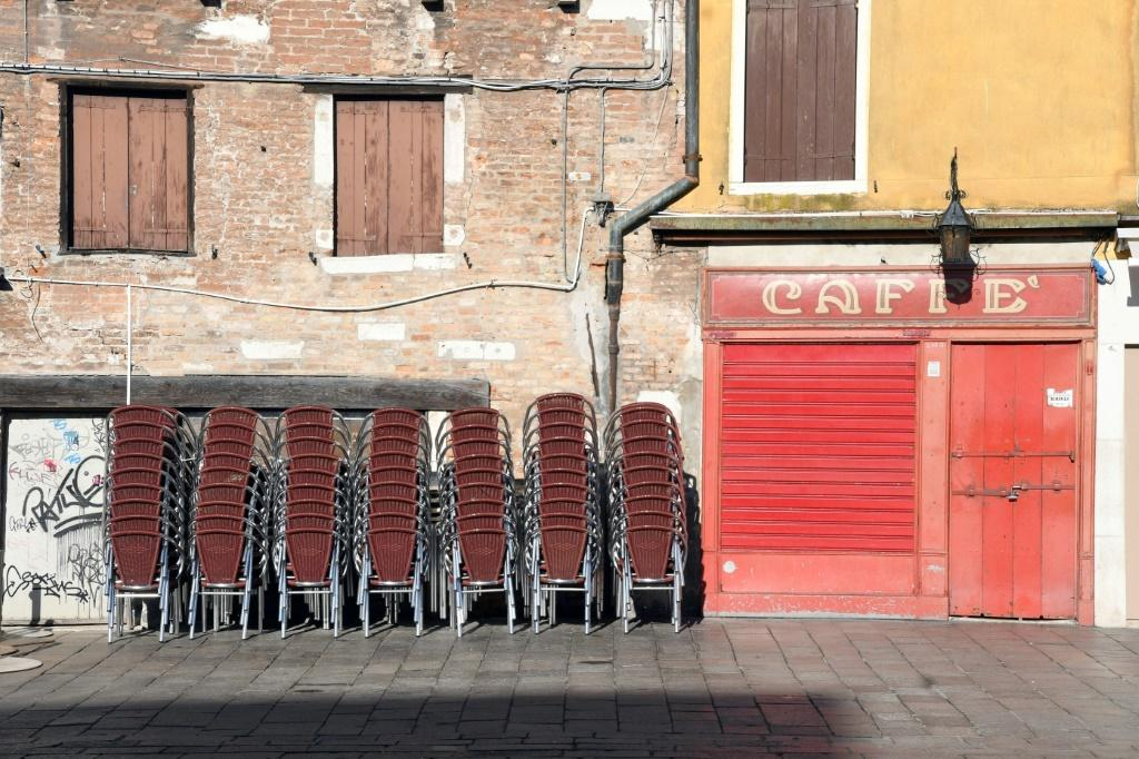 A closed bar in Venice, as large parts of northern Italy go into lockdown to prevent the spread of the virus