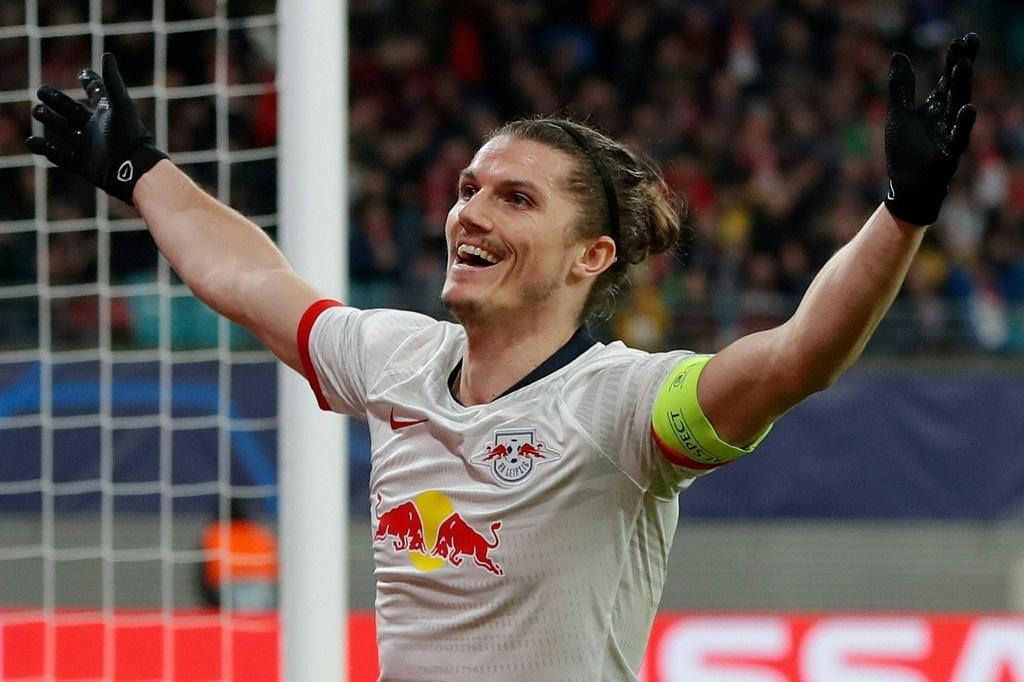Marcel Sabitzer scored twice as Leipzig knocked Tottenham out of the Champions League