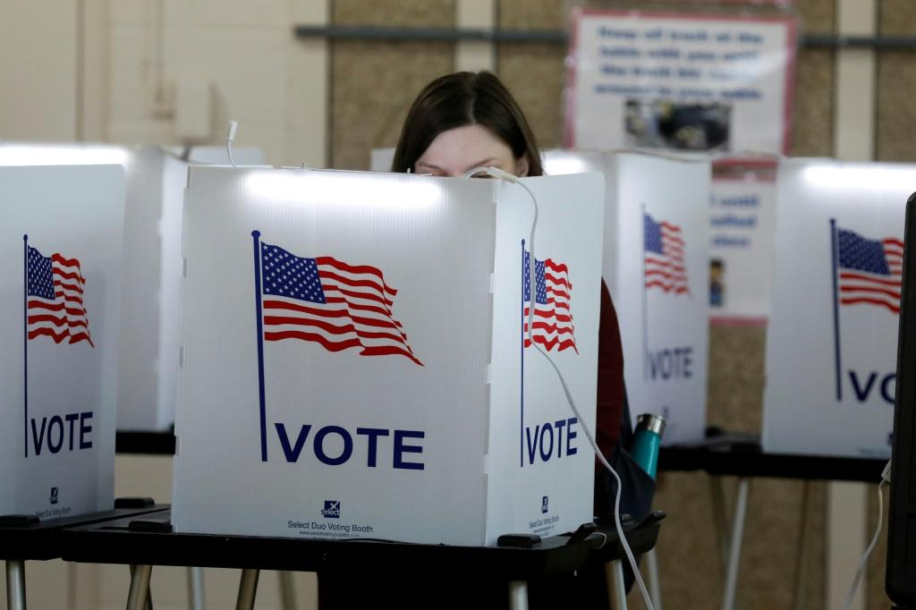 People vote in the Michigan primary election at Chrysler Elementary School in Detroit