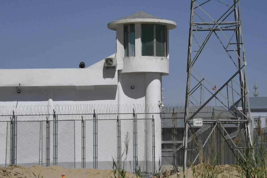A watchtower on a high-security facility near what is believed to be a re-education camp on the outskirts of Hotan, in China's northwestern Xinjiang region, is seen in May 2019