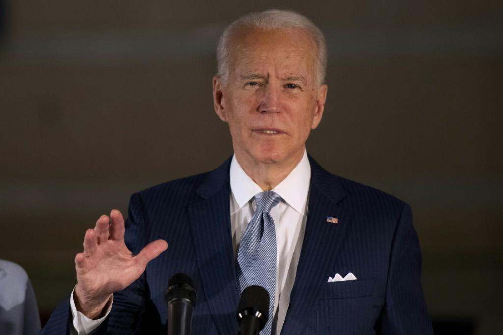 Democratic presidential candidate Joe Biden addresses the media and a small group of supporters during a primary night event on March 10, 2020 in Philadelphia