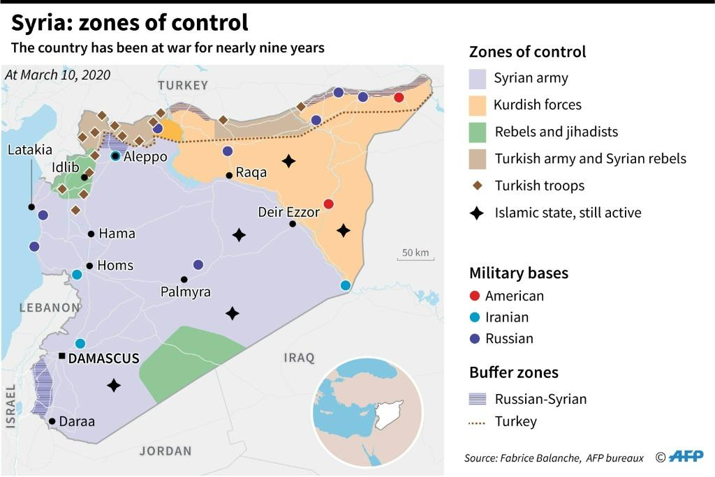 Map of Syria showing zones of control by the different partipants in the nearly nine-year long conflict
