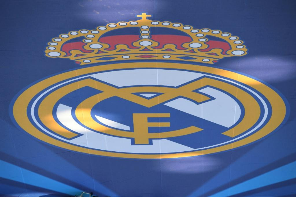 View of Real Madrid's logo after the club was placd in quarantine over the coronavirus