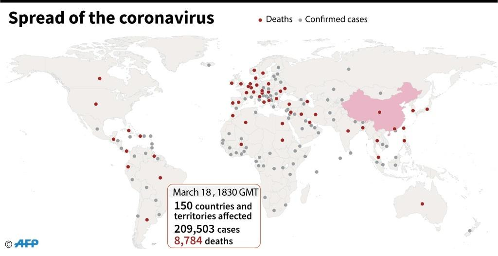 Countries and territories with confirmed new coronavirus cases and deaths, as of March 18 at 1700 GMT