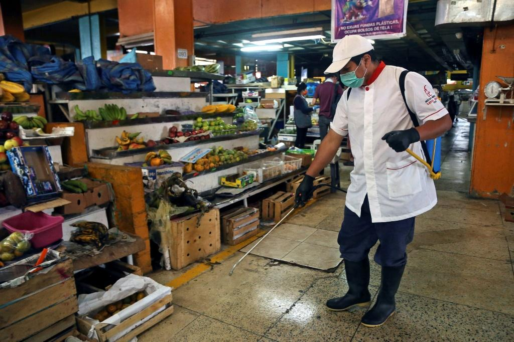 An employee wears a face mask and gloves while disinfecting the Santa Clara market in Quito, on March 21