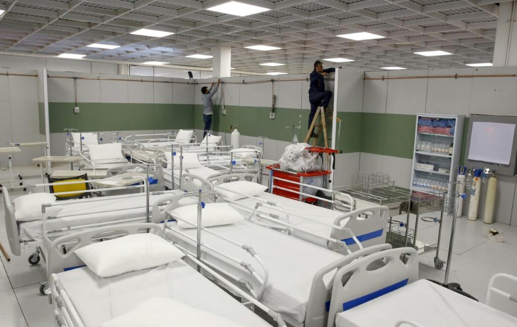 To tackle the number of coronavirus cases, Iran has set up makeshift hospitals like this one in the Iran Mall, a vast shopping and leisure complex northwest of Tehran