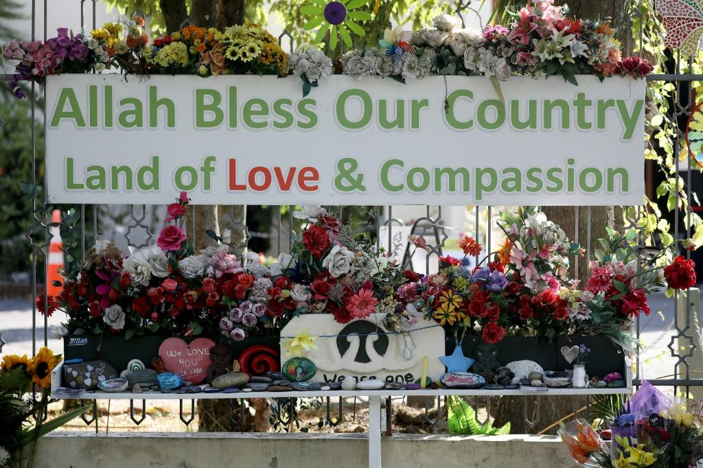 Flowers and messages are seen outside the Al Noor mosque, ahead of the first anniversary of the Christchurch mosque shootings in mid-March