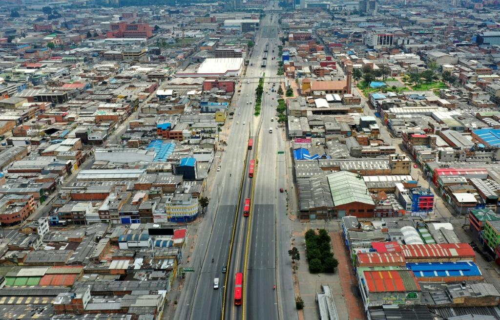 The streets of the Colombian capital Bogota were empty on the first day of lockdown to prevent the spread of the COVID-19 virus