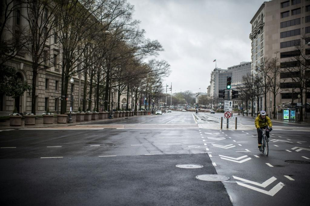 Pennsylvania Avenue, usually one of the busiest streets in Washington, has been left almost deserted