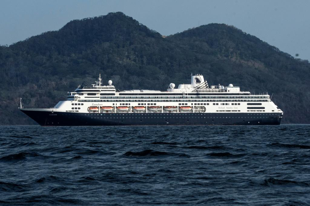 Holland America's cruise ship Zaandam as it entered Panama bay on March 27, 2020