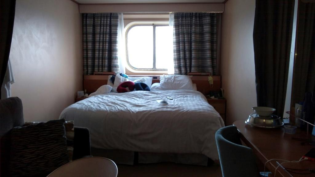 Photo taken by Laura Gabaroni Huergo showing the cabin where she and her husband remain quarantined aboard the Rotterdam Cruise ship on March 29, 2020