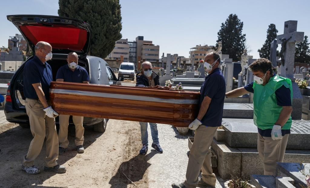 A burial in Spain, which along with Italy accounts for more than half of the world's coronavirus deaths