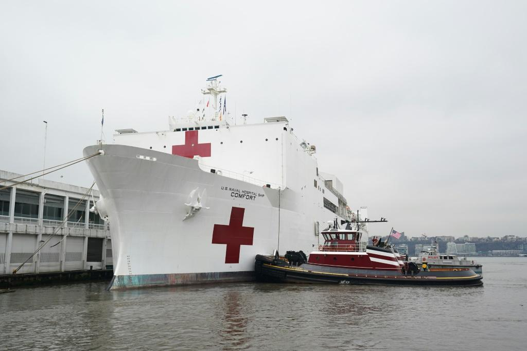 The US navy hospital ship Comfort arrived in New York to boost overwhelmed medical facilities