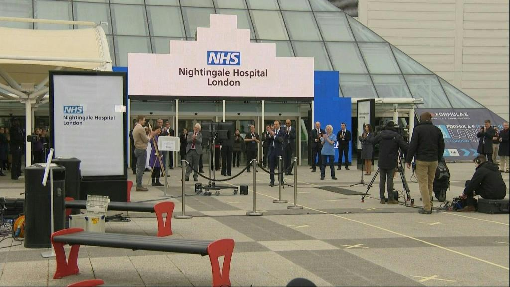 A new 4,000-bed temporary hospital is inaugurated in London