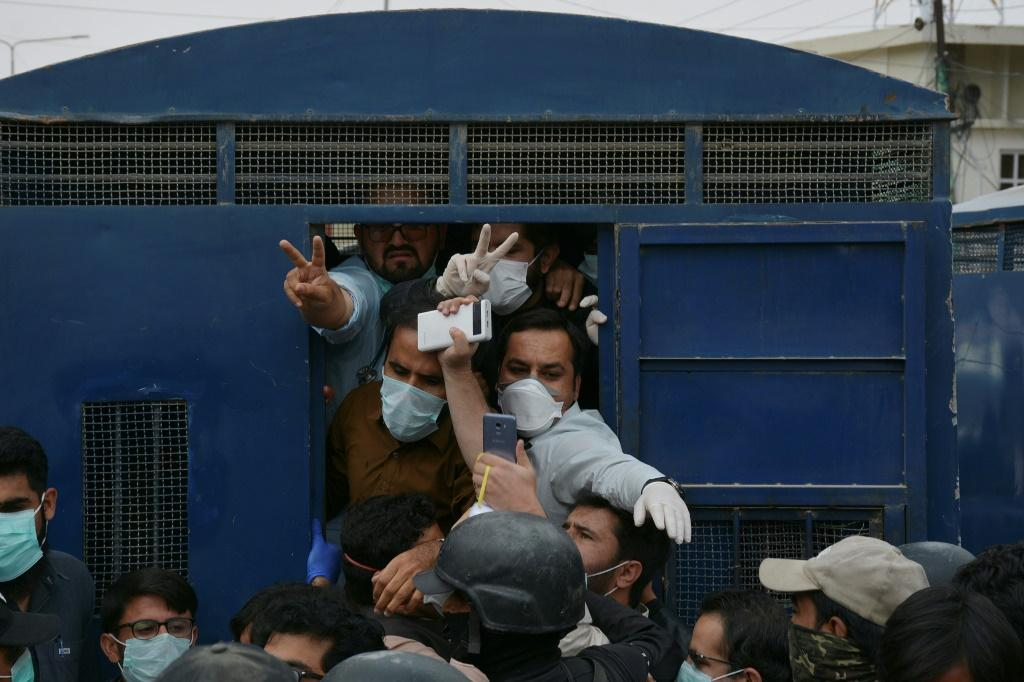 Police used batons to disperse doctors protesting the lack of goggles, masks and other protective equipment in Quetta, southwest Pakistan