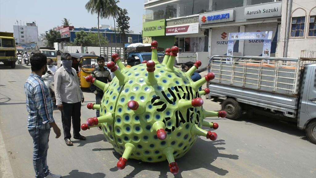 A man in Hyderabad has manufactured a single-seater vehicle that's shaped like a coronavirus to spread awareness about the COVID-19 pandemic