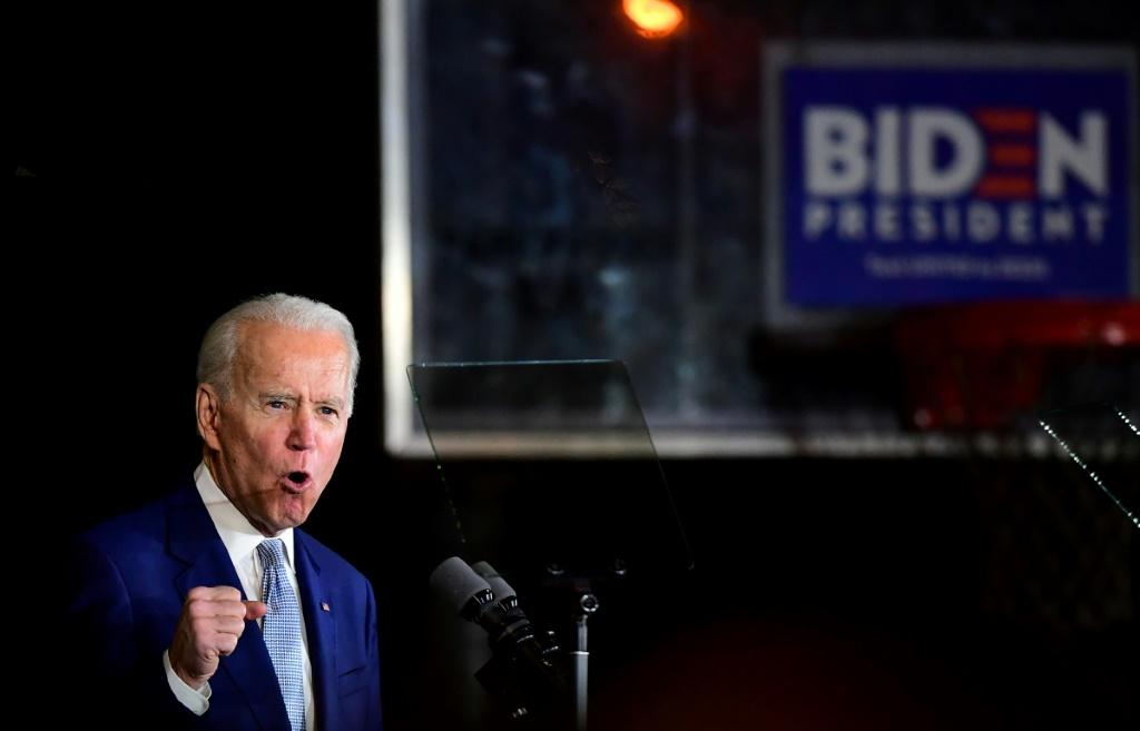Democratic presidential hopeful former Vice President Joe Biden speaks during a Super Tuesday event in Los Angeles on March 3, 2020