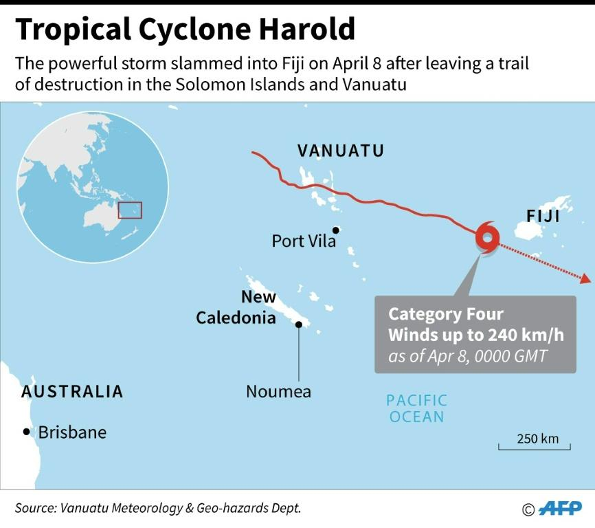 Map locating Tropical Cyclone Harold that slammed into Fiji on Wednesday, after leaving a trail of destruction in the Solomon Islands and Vanuatu
