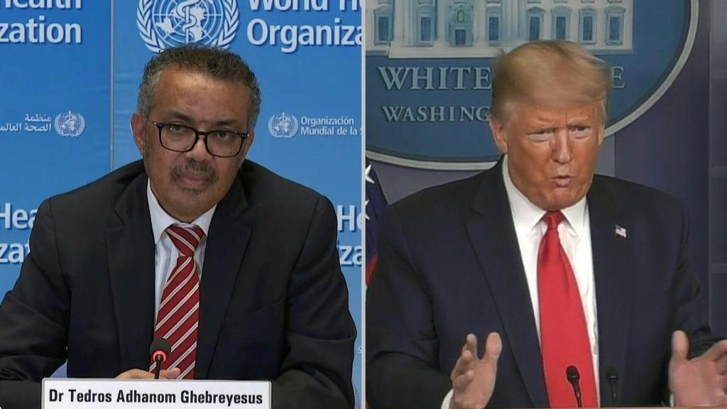 US president Donald Trump and WHO chief Tedros Adhanom Ghebreyesus disagree over alleged 'politicising' of the COVID-19 pandemic