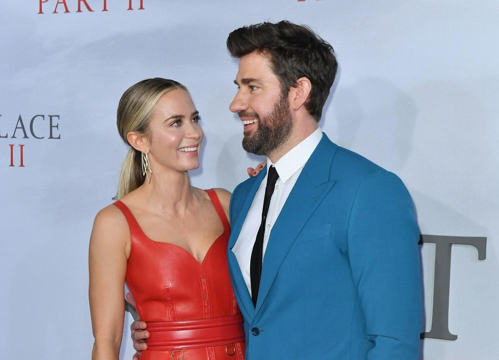 """Actor John Krasinski has created a YouTube show called """"Some Good News"""" which includes upbeat stories about the health crisis and appearances by celebrities, including his wife, actress Emily Blunt"""