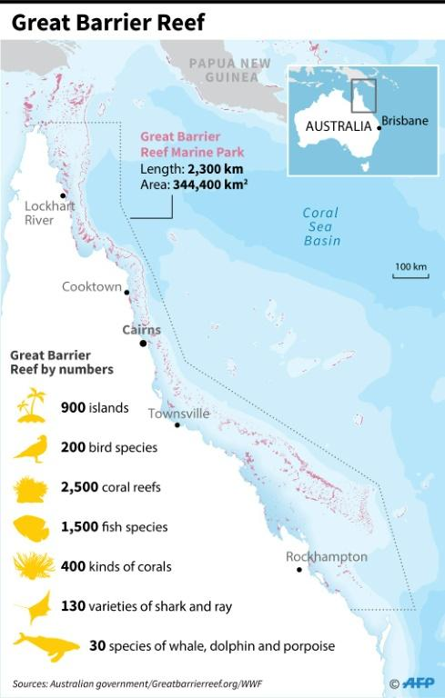 Map of eastern Australia showing the Great Barrier Reef