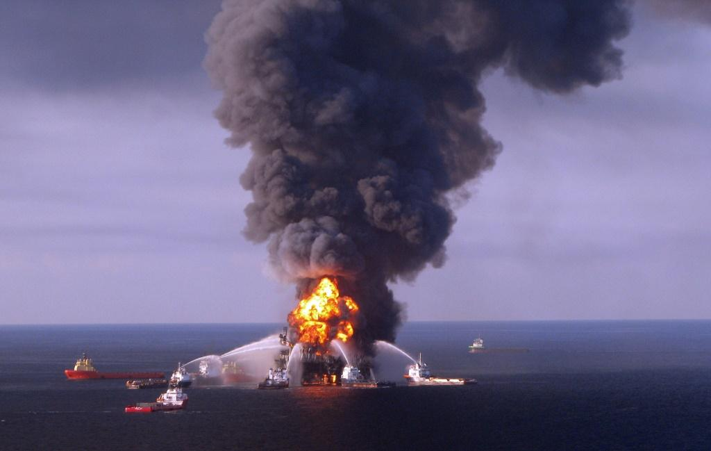 The Deepwater Horizon oil-drilling platform is shown in flames in the Gulf of Mexico two days after an explosion killed 11 workers on the rig