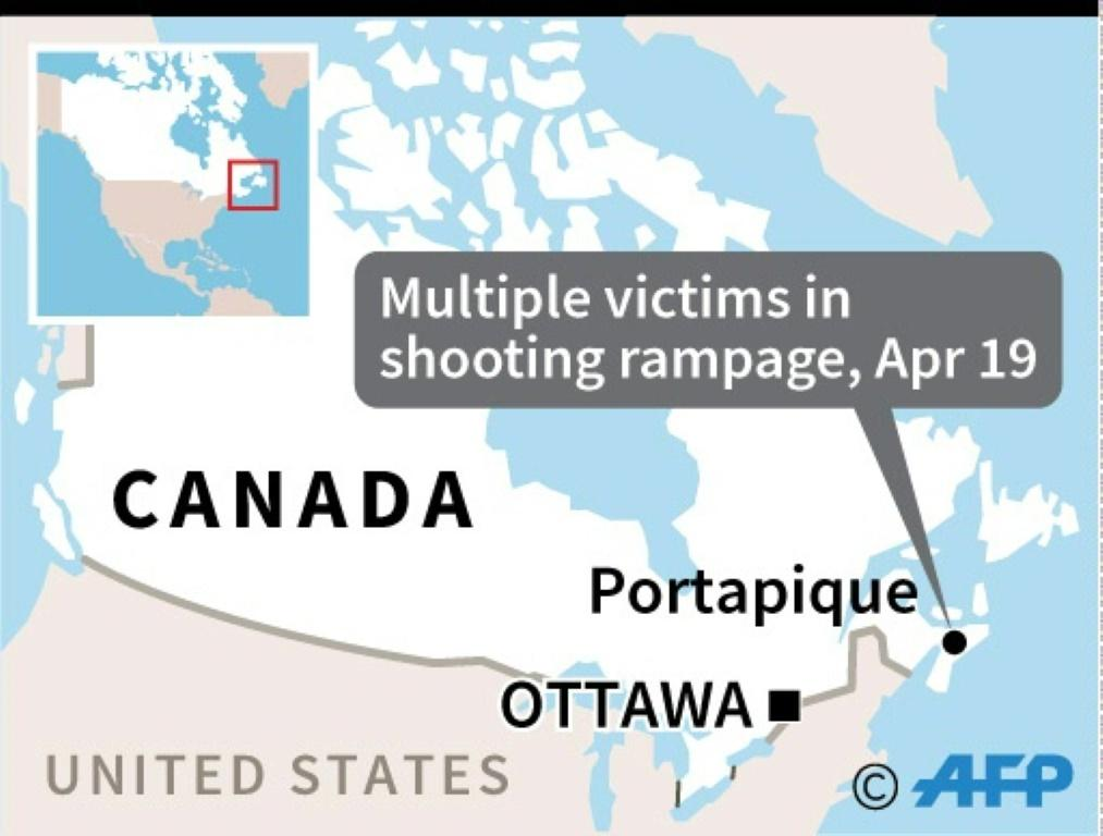 Map locating shooting rampage with multiple victims in Portapique, Nova Scotia, on Sunday