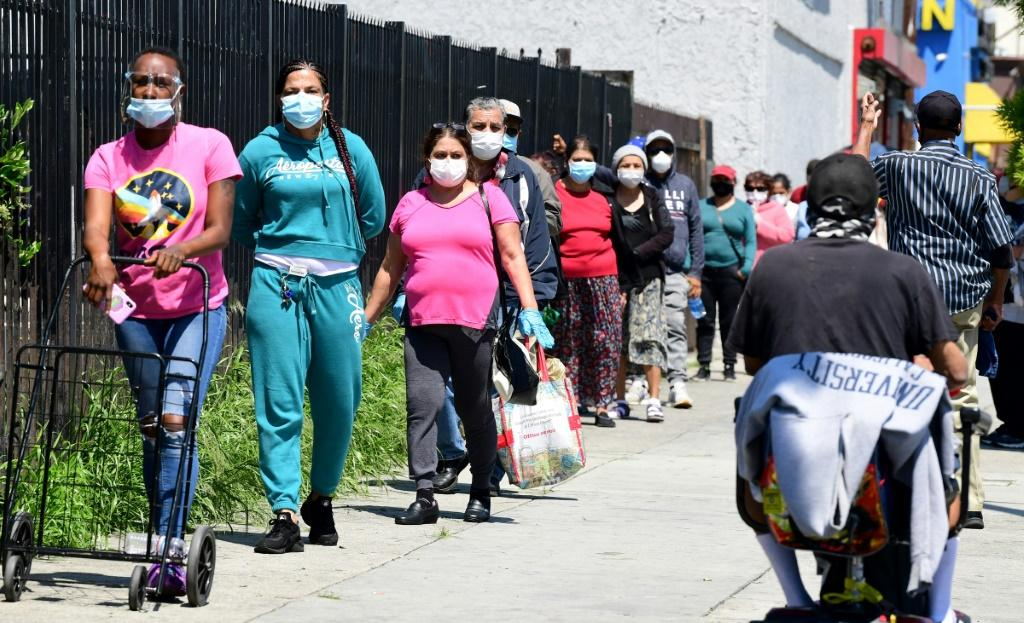 People line up at a food bank in Los Angeles