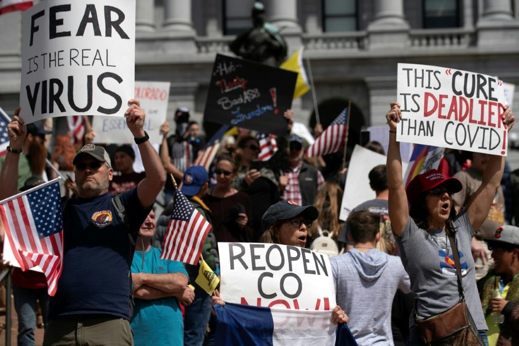 Anti-lockdown demonstrations in the US over the weekend drew hundreds of people in states including Colorado, Texas, Maryland, New Hampshire and Ohio