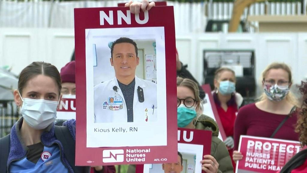 Nurses hold a protest in front of the White House in Washington, DC, to call attention to the tens of thousands of health care workersnationwidewho have become infected withCOVID-19due to lack of personal protective equipment.