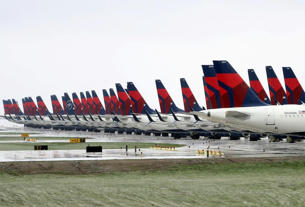Planes belonging to Delta Air Lines sitting idle at Kansas City International Airport earlier this month