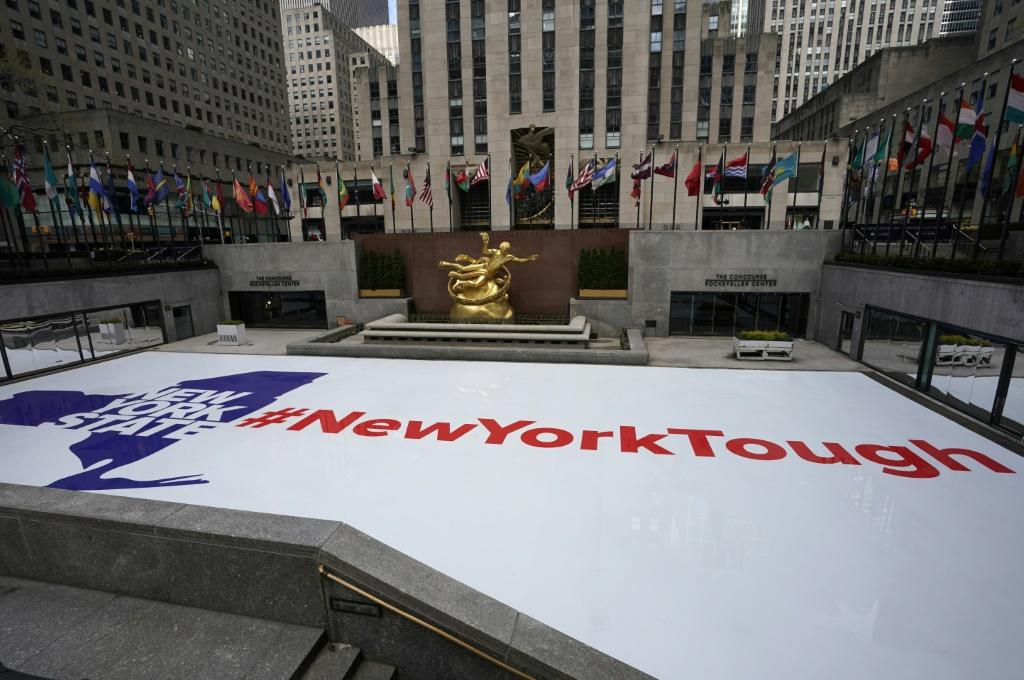 """A """"New York Tough"""" sign at Rockefeller Center Ice Rink in Manhattan, as the city contends with the deadly coronavirus pandemic"""