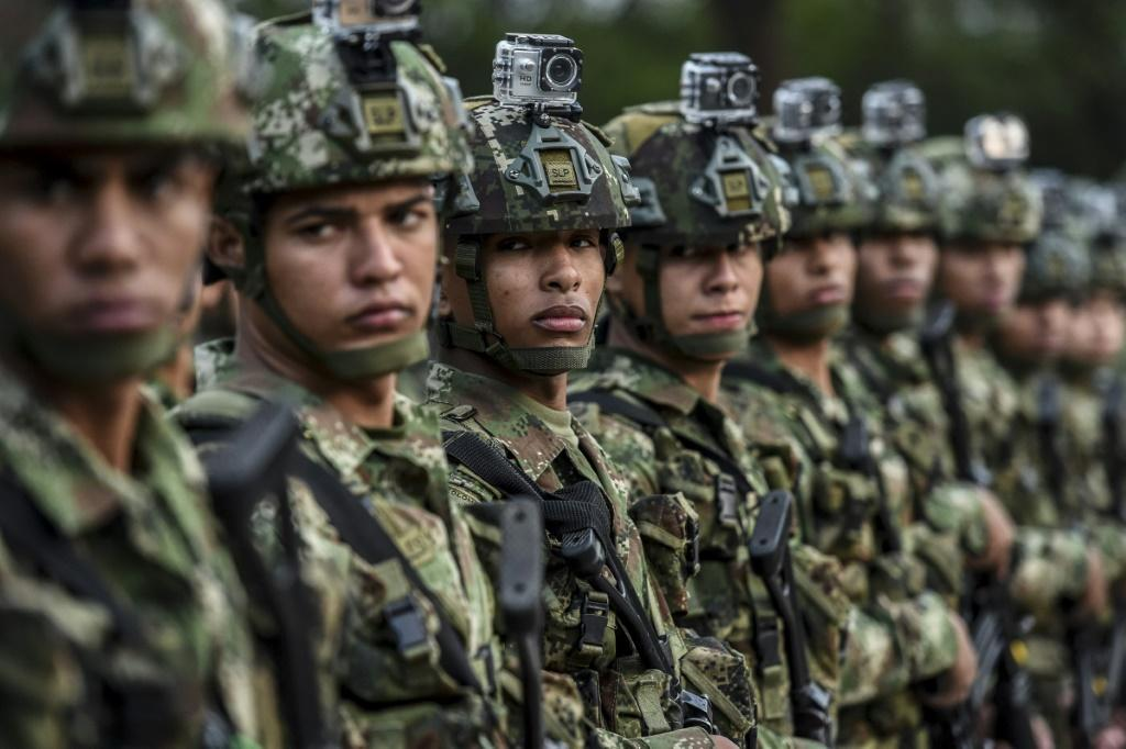 Colombian soldiers at a ceremony to present a new battalion in Medellin on February 11,2020