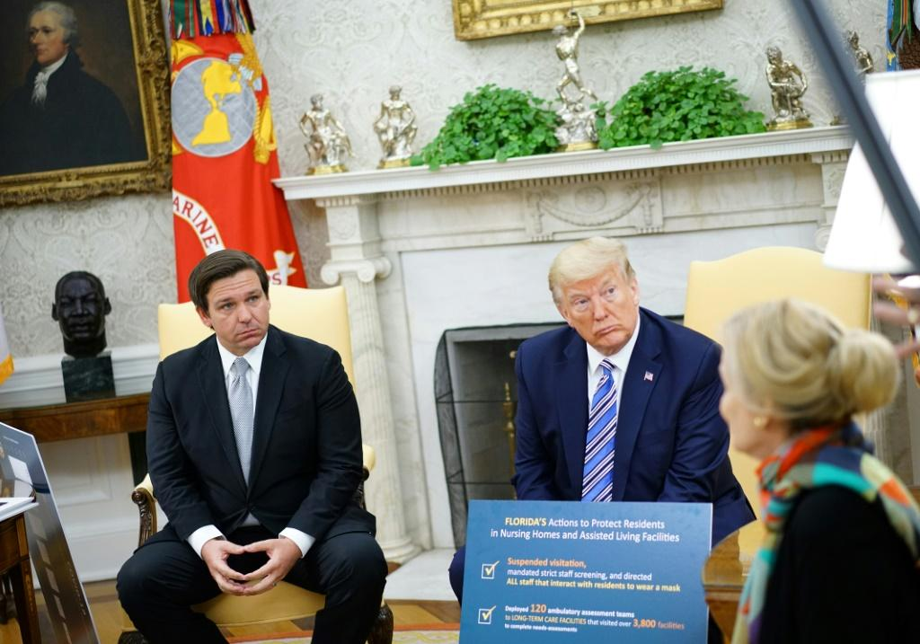 President Donald Trump and Florida Governor Ron DeSantis discussed new safety measures on international flights to the United States