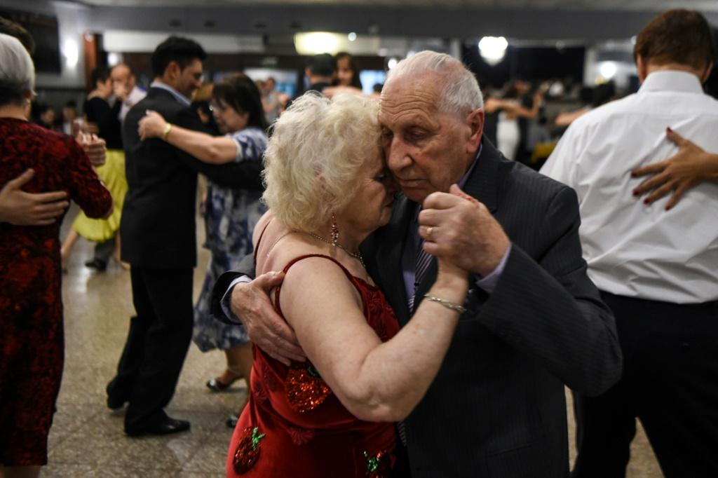 In normal times the embrace is an essential part of the tango but the coronavirus lockdown means many are now left to go solo at home