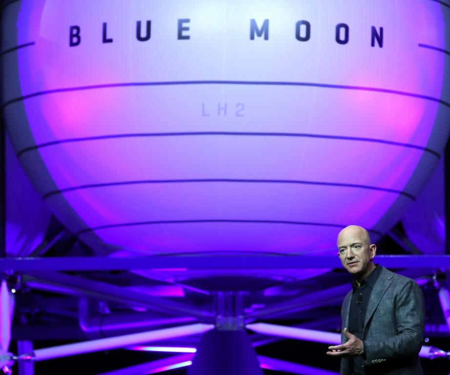 Jeff Bezos, owner of Blue Origin, introduces a new lunar landing module called Blue Moon during an event at the Washington Convention Center, May 9, 2019 in Washington, DC