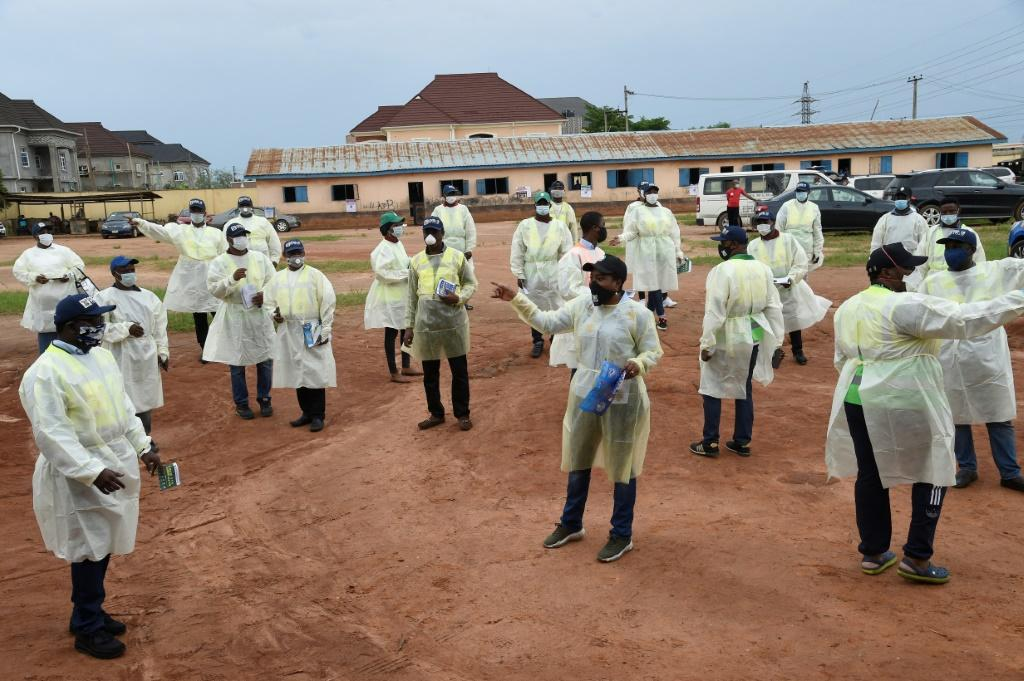 Lagos State Environmental Protection Agency agents train leaders of various unions on measures to curb the spread of COVID-19