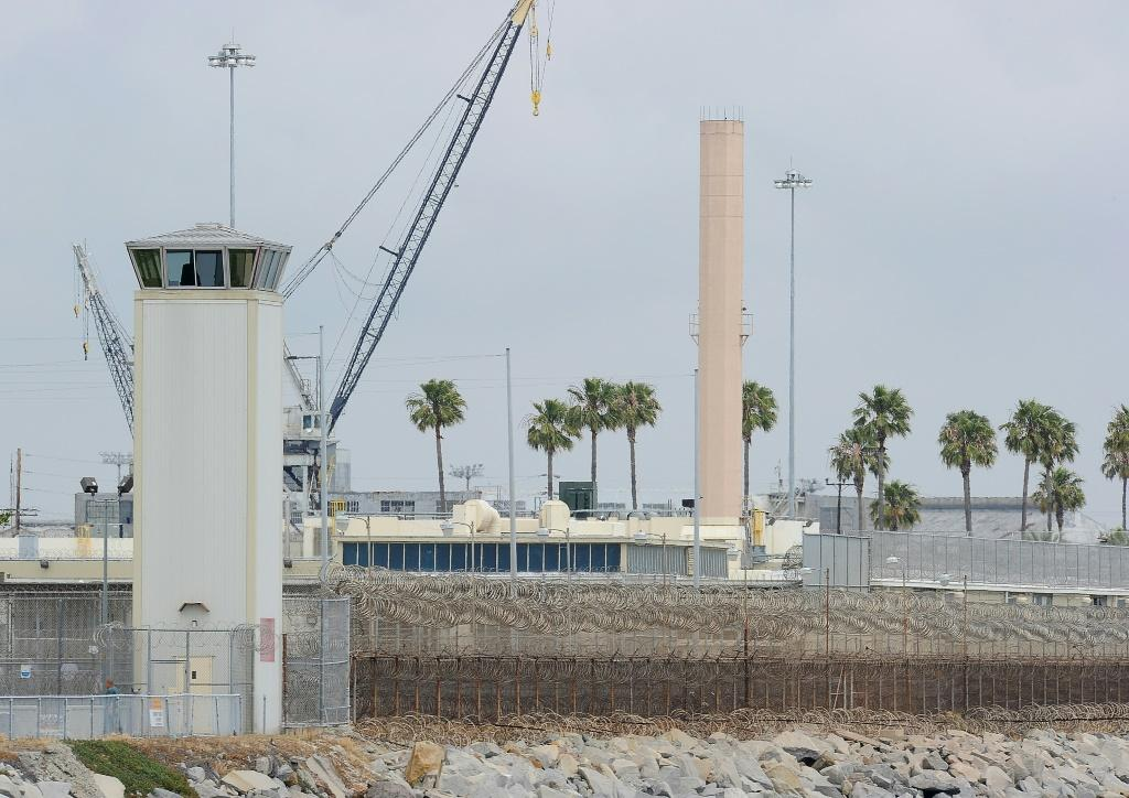 The watchtower of Terminal Island federal prison near Los Angeles, where some 60 percent of the inmate population has tested positive for COVID-19