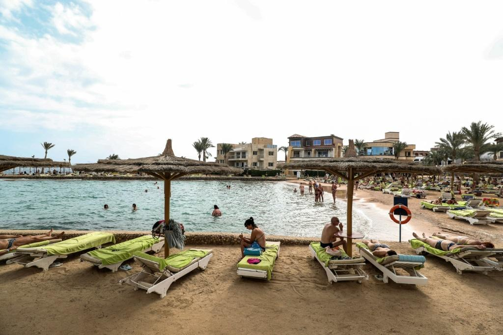 Tourists last year in Egypt's Red Sea resort of Hurghada, before the crisis hit