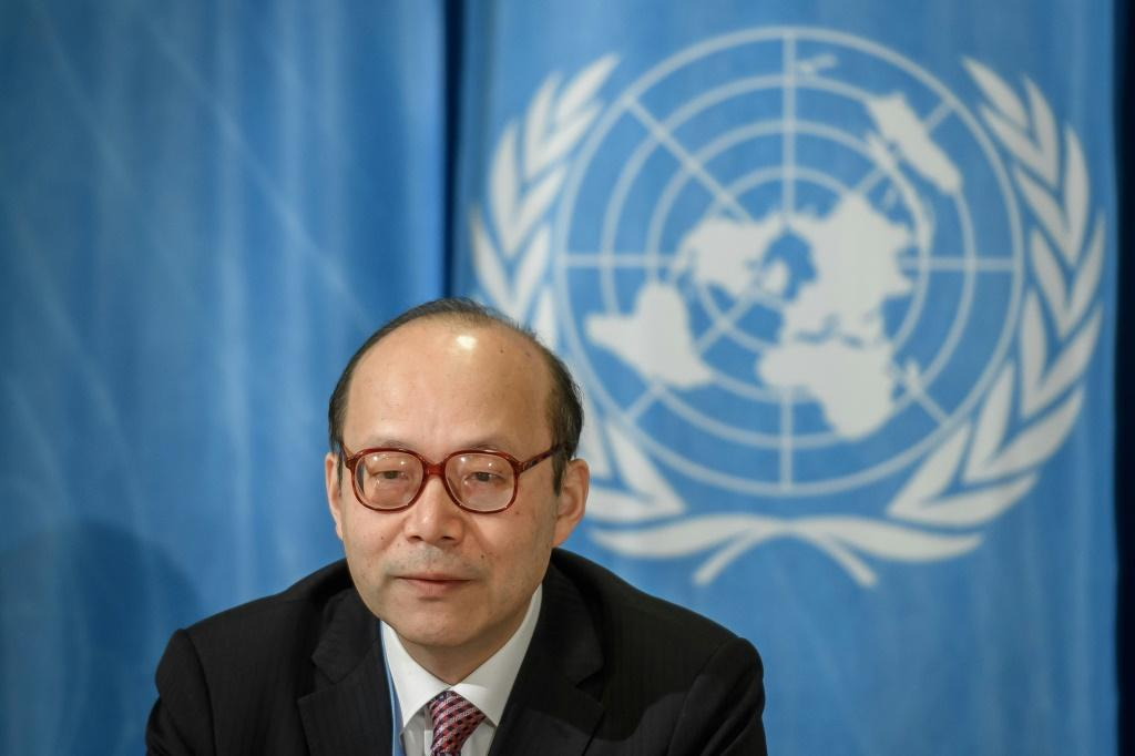 """China's priority is first beating the pandemic -- and secondly countering the """"absurd and ridiculous"""" US politicisation of the new coronavirus, Chinese UN ambassador Chen Xu (pictured February 2020) told reporters"""
