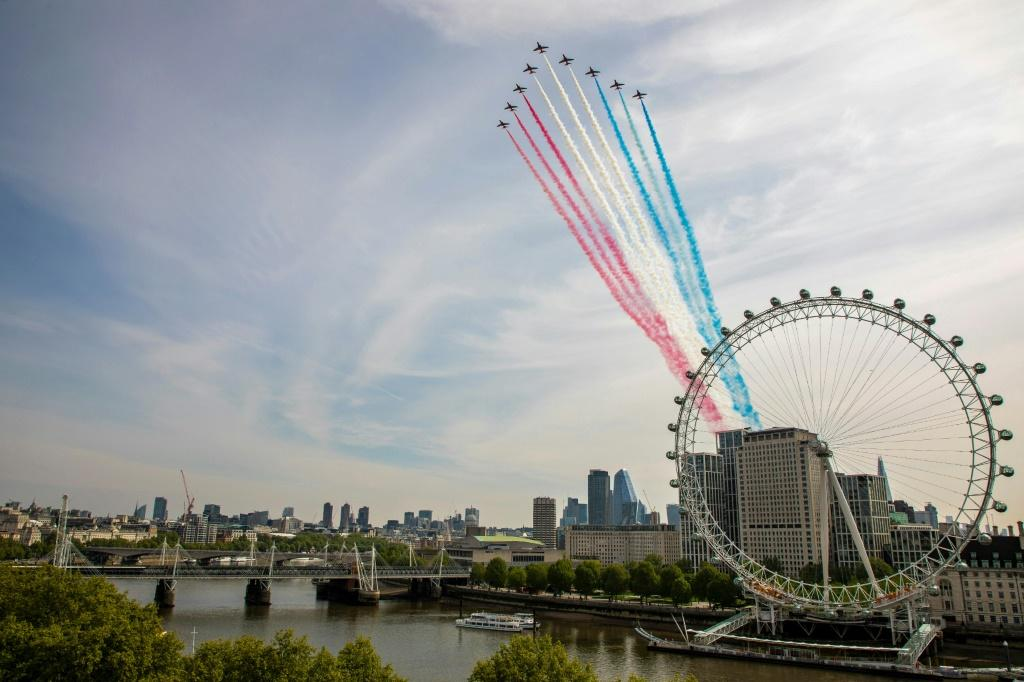 The Royal Air Force Red Arrows marked the 75th anniversary of VE Day (Victory in Europe Day) in central London.