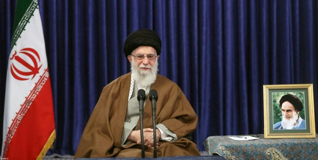 """Iran's Supreme Leader Ayatollah Ali Khamenei pictured on on May 10. Netanyahu praised Washington's pressure on Iran, which he accused of """"aggressive actions against Americans, Israelis and everyone else in the region"""