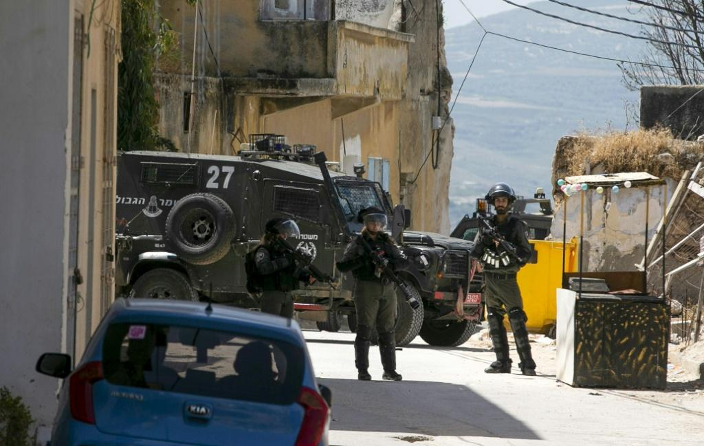 Israeli soldiers in the village of Yabad near the West Bank city of Jenin on Tuesday after the death of an Israeli soldier killed by a rock hurled by a Palestinian
