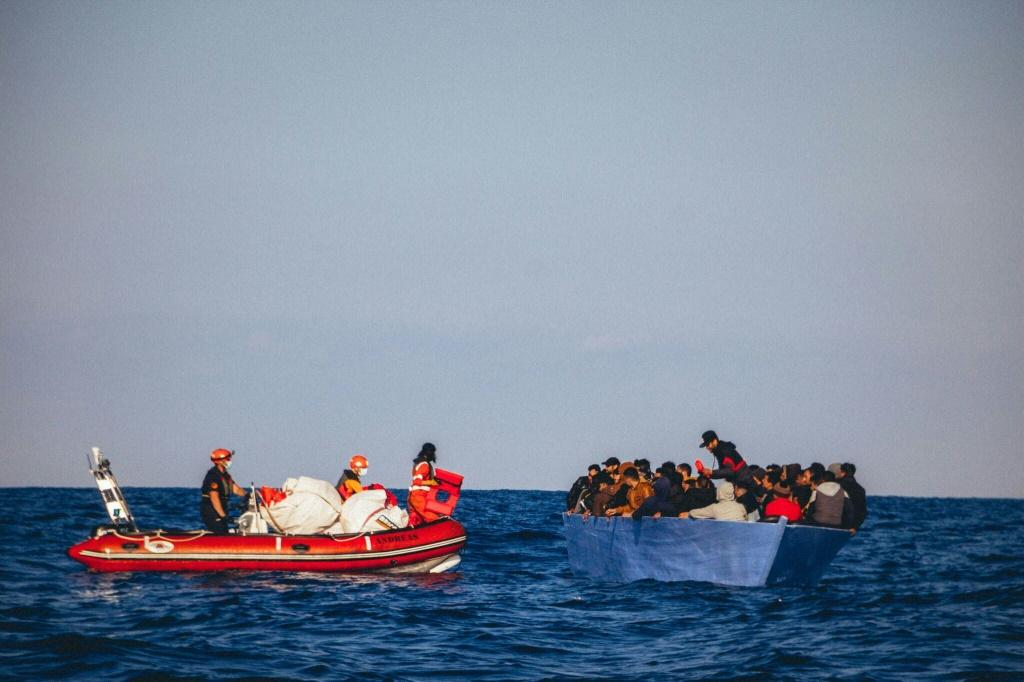 A picture released by German migrant rescue NGO Sea-Eye shows an operation to rescue people in distress off the Libyan coast in April